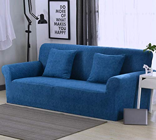 Lukzer Universal Sofa Cover Big Elasticity Cover for Couch with 2 Cushion Covers/Soft Flexible Stretch Home Living Room Hotel Sofa Protector Slipcover (3 Seater – 180-230cm / Blue Lining)