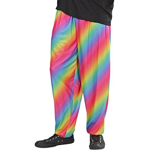 Amakando 80er Jahre Jogginghose Retro 80`s Hosen XL 54 Regenbogen Baggy Pants Rainbow Hose Karnevalskostüme Herren lustig Bad Taste Partyhose Mottoparty Stoffhose