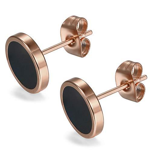 Flongo 6-20mm Pendientes hombre mujer, plateados negros pendientes de acero inoxidable, estilo Hip Hop redondos pendientes pequeños,color plateado negro dorado