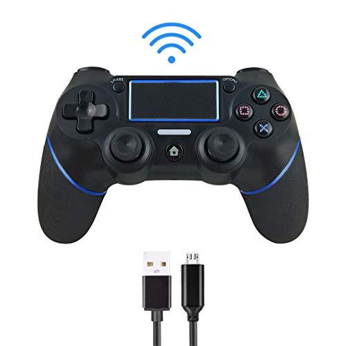 Intckwan Controller für PS4,Wireless Controller für PS4/PS4 Slim/PS4 Pro,USB Controller für PC, Gamepad-Joystick mit Bluetooth-Fernbedienung, doppelter Vibration, Audiofunktion, Mini-LED-Anzeige, blau