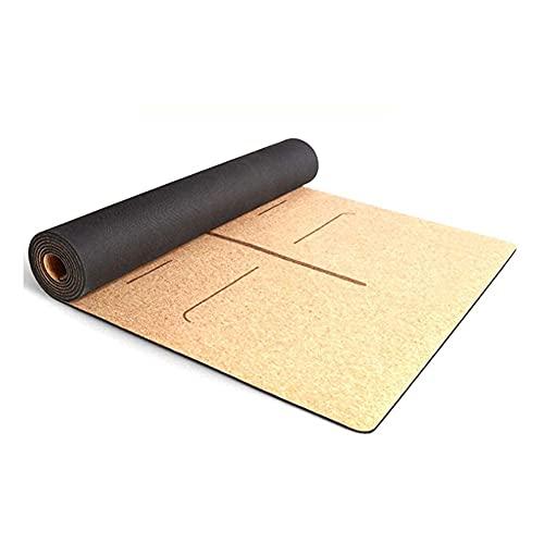 Sysrqcer Estera de Yoga TPE + Corcho Natural Antideslizante para Pilates, Ejercicio, Aptitud, Entrenamiento con Bolsa de Transporte y Correa 4mm 183x61cm