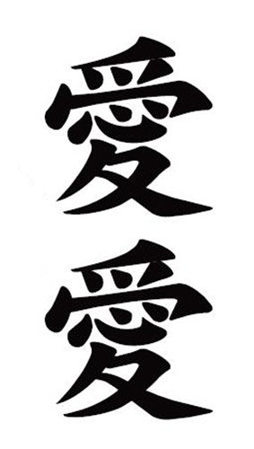 Waterproof Temporary Fake Tattoo Stickers Classic Chinese Character Love (Set of 5)