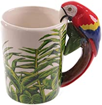 3D three-dimensional hand-painted animal parrot ceramic mark glass cup of coffee cup cup Parrot