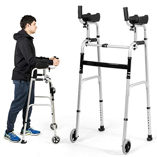 Goplus Foldable Standard Walker, Lightweight Aluminum Alloy Wheel Rehabilitation Auxiliary Walking Frame with Arm Rest Pad and Wheels, Height Adjustable Elderly Walking Mobility Aid