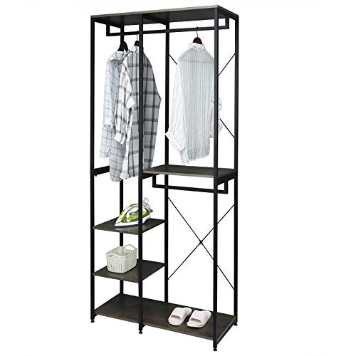 eSituro Heavy Duty Adjustable Clothes Rail, Double Rod Garment Rack,Wooden Coat Stand Clothings Wadrobe Organizer, 5 Tiers Metal Storage Shoe Rack Cabinet Shelves