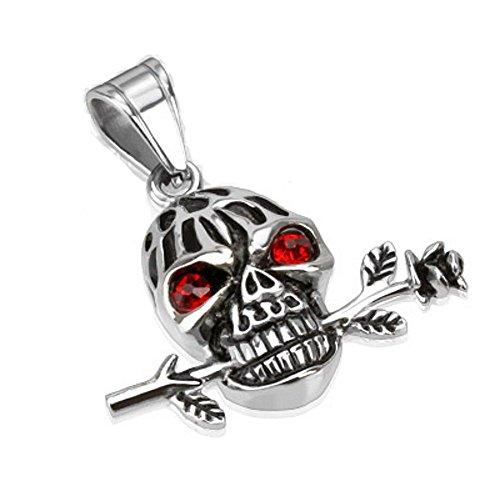 Bungsa® Totenkopf romantisch mit Rose & Kristall Halskettenanhänger Pendant Edelstahl silber (Kettenanhänger Anhänger Charm Beads Chirurgenstahl Damen Herren Schmuck)
