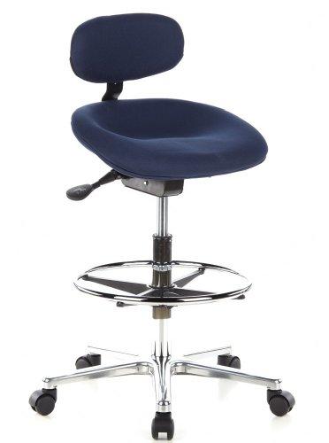 hjh OFFICE 608310 Arbeitsstuhl hoch Work MF Stoff Blau Stehhilfe Büro Drehhocker mit Lehne & Rollen, höhenverstellbar