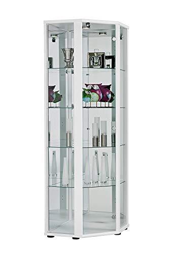 BR-Wohndesign Glasvitrine Sammlervitrine Eckvitrine Vitrine in Weiß (Dekor) mit 4 Glaseinlegeböden Nicht höhenverstellbar Beleuchtung LED Schloß und Spiegel an der Rückwand