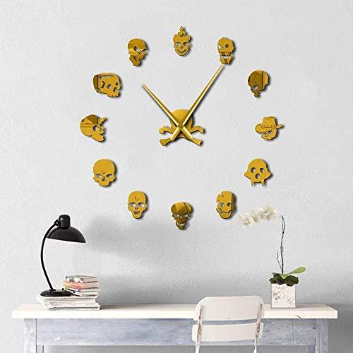Wandklok Familie Decoratie Muursticker Vakantie Gift Decoratie DIY Sticker Muurklok Dode Skeleton Schedel Moderne Nieuwigheid Gift DIY Wandklok - Goud 47 Inch