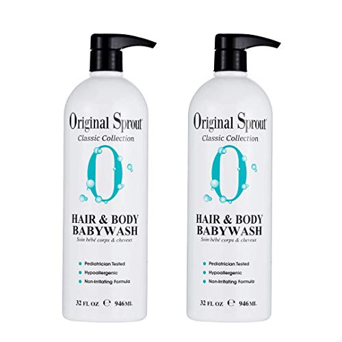 Original Sprout Hair and Body Baby Wash. Organic Vegan Baby Shampoo and Body Wash for Sensitive Skin. 32 Ounces. 2 Pack. (Packaging May Vary)