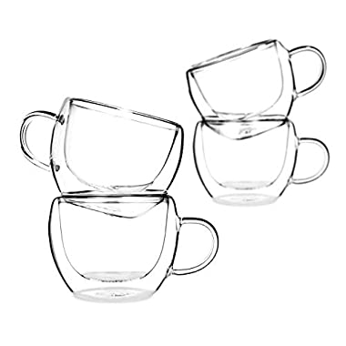 Tealyra - Universe 8-Ounce - Set of 4 - Double Wall Glasses with Handle - Perfect Clear Cups - Tea - Coffee - Cappuccino - Heatproof Insulating - Keeps Beverages Hot - Gift Box - 230ml