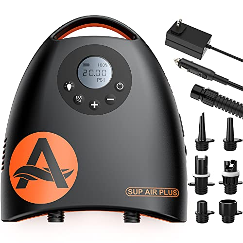 awesafe 20PSI Electric SUP Air Pump with 7800mAh Rechargable Battery for Inflatable Paddle Boards, High Pressure, Dual Stage Inflation, Auto-Off, Deflation Function, AC Adapter & 12V DC Car Connector
