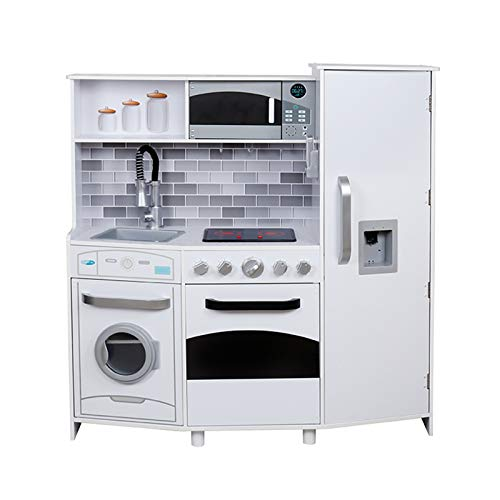 Outdoor Toys- Cocina Infantil Madera con 5 Accesorios Blanca Electronic Kitchen 99 x 34 x 104 cm, Color (Kovyx KEC3040)