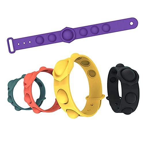 Fidget Pulsera, Juguete sensorial Push Pop Bubble Fidget, Juguetes Pops It Fidget, Pulseras de Silicona con Burbujas para aliviar el estrés, ayudando al Autismo a recuperar Las emociones 5Pcs