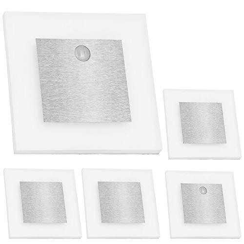LEDANDO Set LED Treppenbeleuchtung Warmweiß 3000K inklusive Zwei Einheiten mit Bewegungsmelder und 15W Trafo, Set:5er Set inkl. 2 x Sensor
