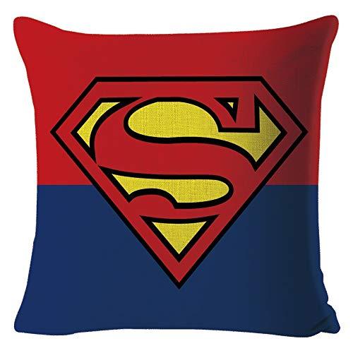 SUNXK Superhéroe Iron Man, Capitán América Superman Batman Funda de Almohada Fundas de cojín Almohada de Lino de Mapa Personalizado (Color : BZ0569)
