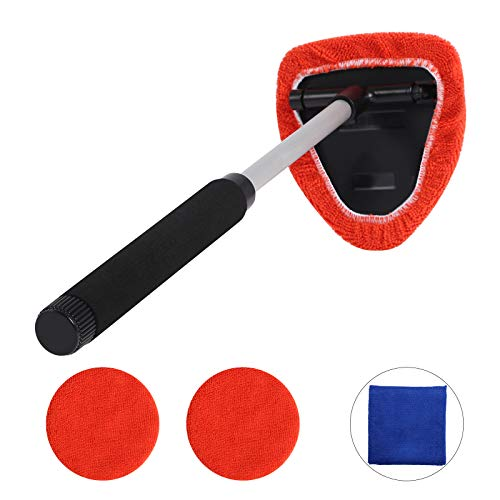 Teancll Windshield Cleaning Tool Microfiber - Car Window Cleaner with Extendable Handle, Auto Car Glass Cleaner with 2 Washable Reusable Microfiber Pads