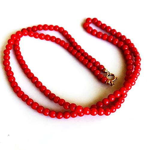 Collar de cuentas de 6 mm de coral rojo natural de corte suave de forma redonda de 14