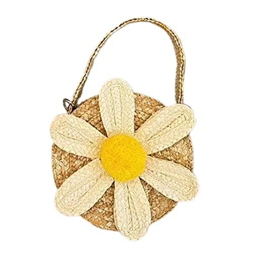 Kemelo Cute Flower Woven Kinder Umhängetasche Stroh Handtasche Umhängetasche Rattan Woven, Unter-Bett-Aufbewahrung