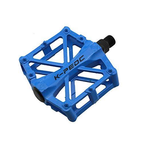 VOANZO Pedali Bici, Pedali Bici Bici Pedali Alluminio Resistenti Antiscivolo per Mountain Bike, Pedali Bici MTB BMX (Blu)