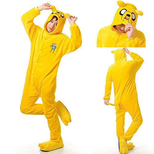 Enlace Adulto Finn y Jake Onesies Disfraz de Aventura Pijama de Perro Amarillo Animal Fiesta de Halloween Monos Kigurumi M Jake