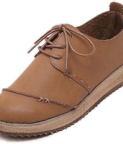 NJX  Chaussures Femme - Décontracté - - Marron   Beige - Talon Compensé - Bout Arrondi - Richelieu - Similicuir  tout en haute qualité et prix bas