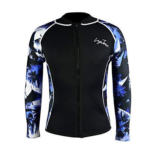 LayaTone Wetsuit Top Men Women 3mm Neoprene Jacket Adults Surfing Scuba Diving Suit Top Wetsuits Jacket Women Men Rash Guard Long Sleeves Front Zipper Wet Suits Top (Blue-Neoprene Sleeve,XL)