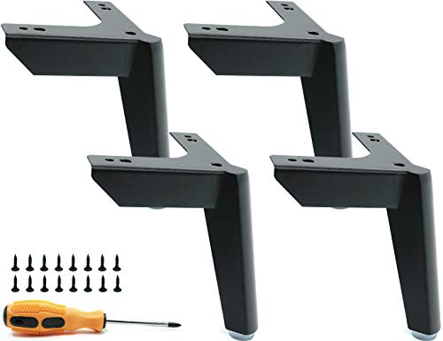LONGZG 4 Pieces of 12cm Black Metal Furniture Legs, DIY Replaceable Table Legs, TV Cabinet Bed Sofa Bathroom Cabinet Coffee Table Furniture feet, 4 Hairpin Legs Load 800kg.