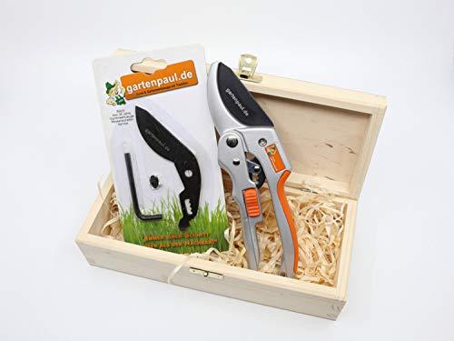 Gartenpaul Ratschen Gartenschere | Limited Edition inkl. Ersatzklingen-Set und Gartenpaul Holzbox | Kostenloser Schleifservice | Amboss Gartenschere | Stufenschere