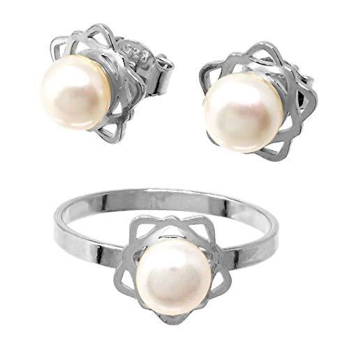 Juego plata Ley 925m Primera Comunión sortija pendientes flor pétalos calados perla
