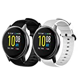 Compatible with Uwatch 2S Bands, Youkei Silicone Replacement Accessories Soft Band Wristbands Straps with Stainless Steel Buckle Compatible with Umidigi Uwatch 2S / Uwatch 2 (2 Pack-Black+White)