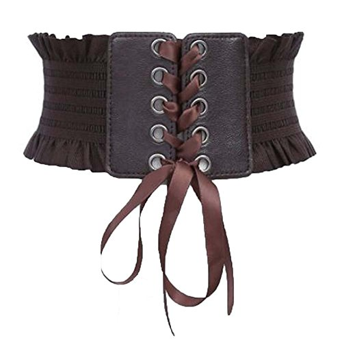 Womens Adjustable Elastic Leather Lace-up Wide Waist Belt Cinch Corset Waistband (Coffee)