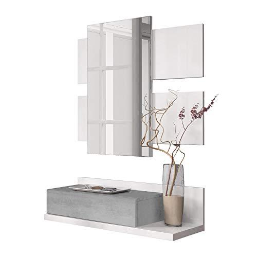 Habitdesign Recibidor con cajón y Espejo, Mueble de Entrada, Modelo Tekkan, Acabado en Blanco Artik y Gris Cemento, Medidas: 75 cm (Ancho) x 116 cm (Alto) x 29 cm (Fondo)