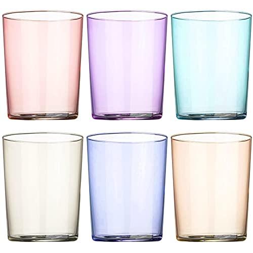 Set de 6 Vasos de Agua Multicolor, Vasos de Cristal Lisos y de Colores, Aptos para Lavavajillas