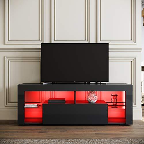 SIRHONA Meuble TV LED Noir, Banc TV 140x35x51cm, Éclairage LED RGB avec Couleur réglable, Capacité de Charge 30 kg, Convient pour Salon ou Chambre