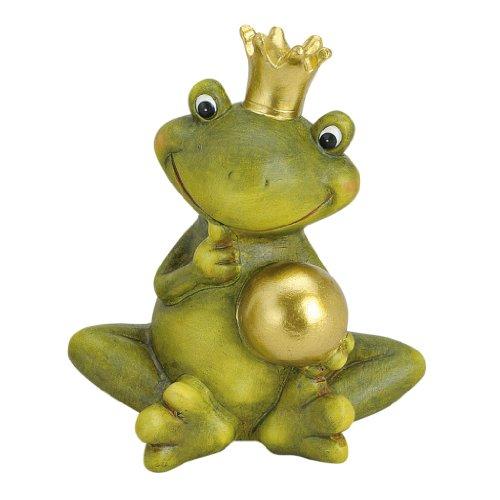 Froschkönig deko mit Kugel Gartendeko Keramik Figuren Gartenfiguren Frosch (Nachdenklich)