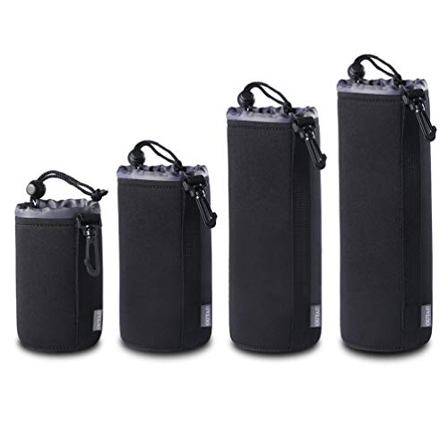 (4 Pack) S/M/L/XL Thick Protective Neoprene Pouch Set for DSLR Camera Lens