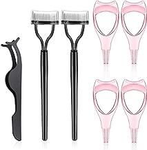 7 Pieces Eyelash Makeup Tool Set, Mascara Applicator Guide Tool, Eyelash Comb Curler Eyelash Separator, Eyelash Extension Tweezers for Women Girls Lash Eyelash Tools (Black, Pink)