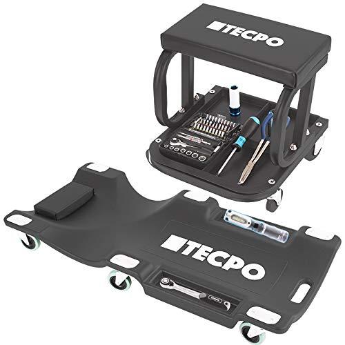 TECPO Werkstattrollbrett 1030 mm lang + Werkstatthocker 120 kg Montageliege Rollsitz 360 Grad drehbar