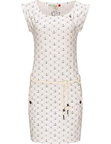 Ragwear Damen Kleid Dress Baumwollkleid Jerseykleid Sommerkleid Freizeitkleid Tag Marina White Gr. M