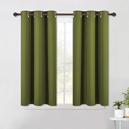 NICETOWN Bedroom Curtain Panels Blackout Draperies, Thermal Insulated Solid Grommet Blackout Curtains/Drapes (One Pair, 42 by 45-Inch, Olive Green)