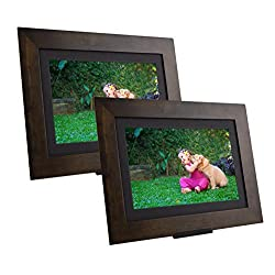 PhotoShare Friends and Family Smart Frame, Digital Photo, Send Pics from Phone to Frame, WiFi, 8 GB, Holds Over 5,000 Photos, HD, 1080P, iOS, Android (10.1 (2-Pack), Espresso)