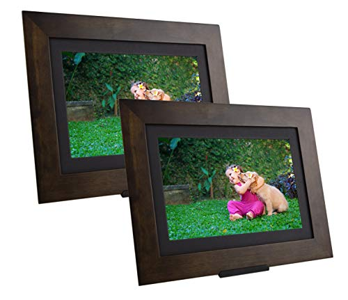 PhotoShare Friends and Family Smart Frame Digital Photo Frame, Send Pics from Phone to Frame, WiFi, 8 GB, Holds Over 5,000 Photos, HD, 1080P, iOS, Android (10.1' (2-Pack), Espresso)