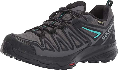 Salomon Women's X Crest GORE-TEX Hiking Shoes, Magnet/Black/Atlantis, 7.5 US
