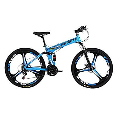 justHIGH 26in Outdoor Bike Folding Mountain Bicycle Dual Disc Brake, 21-Speed Full Suspension MTB Bikes Lightweight and Durable