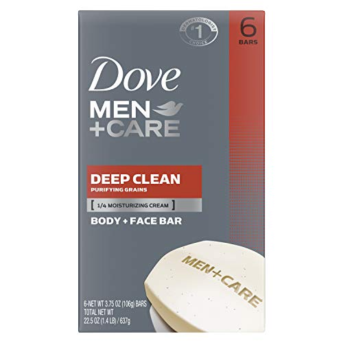 Dove Men+Care Body Soap and Face Bar More Moisturizing Than Bar Soap Deep Clean Effectively Washes Away Bacteria, Nourishes Your Skin 3.75 oz 6 Bars