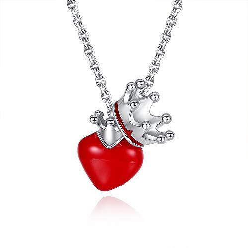 VIKI LYNN Collier Pendentif Coeur d'Amour et Couronne en Arg