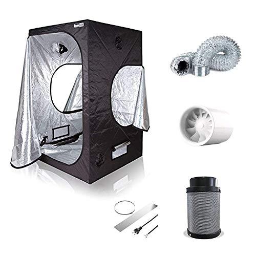 Box Set Silent Zelt mit Abluft 2 Stufen 120cm 197cbm/h Lüfter inkl. Filter Grow