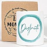 Taza Desayuno con Mensaje Disfruta_ Regalos Originales para Mujer_ Taza café Infusiones o Decoración...