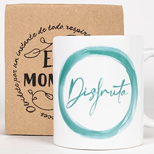 Taza Desayuno con Mensaje Disfruta_ Regalos Originales para Mujer_ Taza café Infusiones o Decoración Hogar en Cerámica de Gran Calidad.
